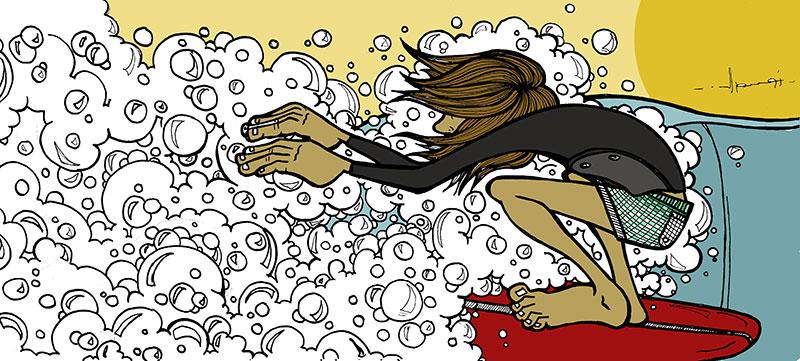 Illustrazioni sul surf di marc iomal