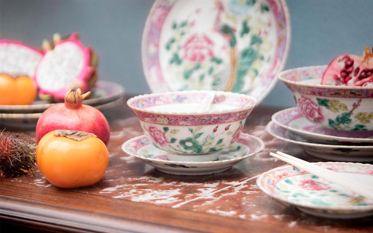porcellana-cinese rosa e verde
