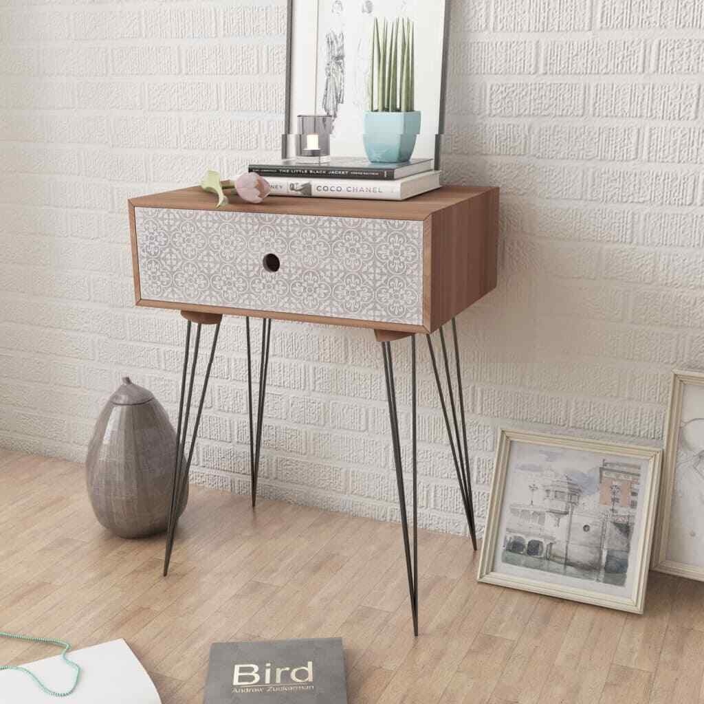 comodino moderno in legno e metallo