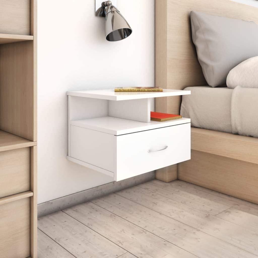 comodini sospesi bianchi camera da letto
