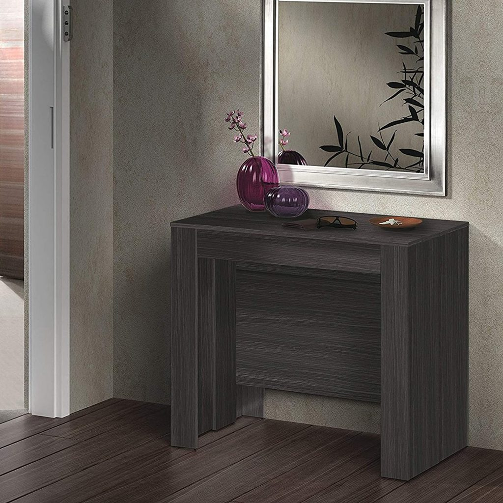 tavolino trasformabile in legno scuro